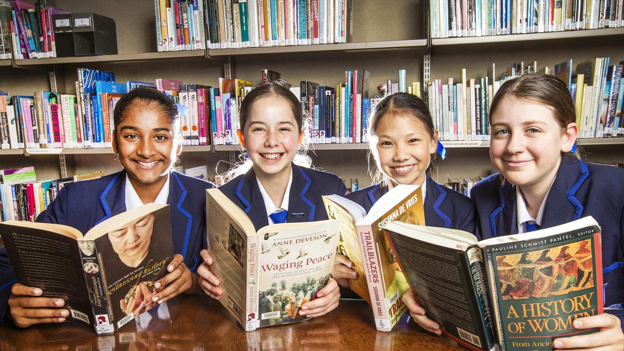 Brisbane Girls Grammar School students Alyssa Godinho, Eva Lusk, Aily Chang and Elsie Butler. Pic: Nigel Hallett