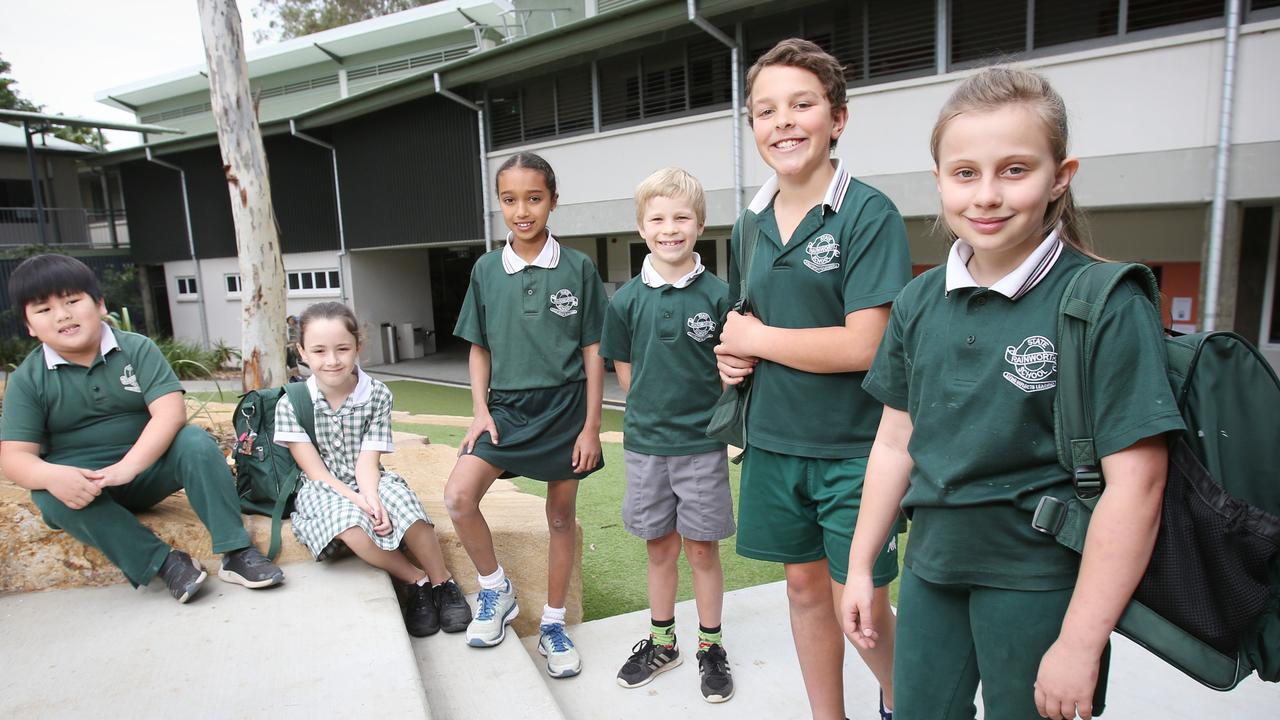 Rainworth State School students Troy, Emma, Sianna, Harry, Samuel and Mia. The school was one of the state's top performers in NAPLAN. Picture: Steve Pohlner/AAP