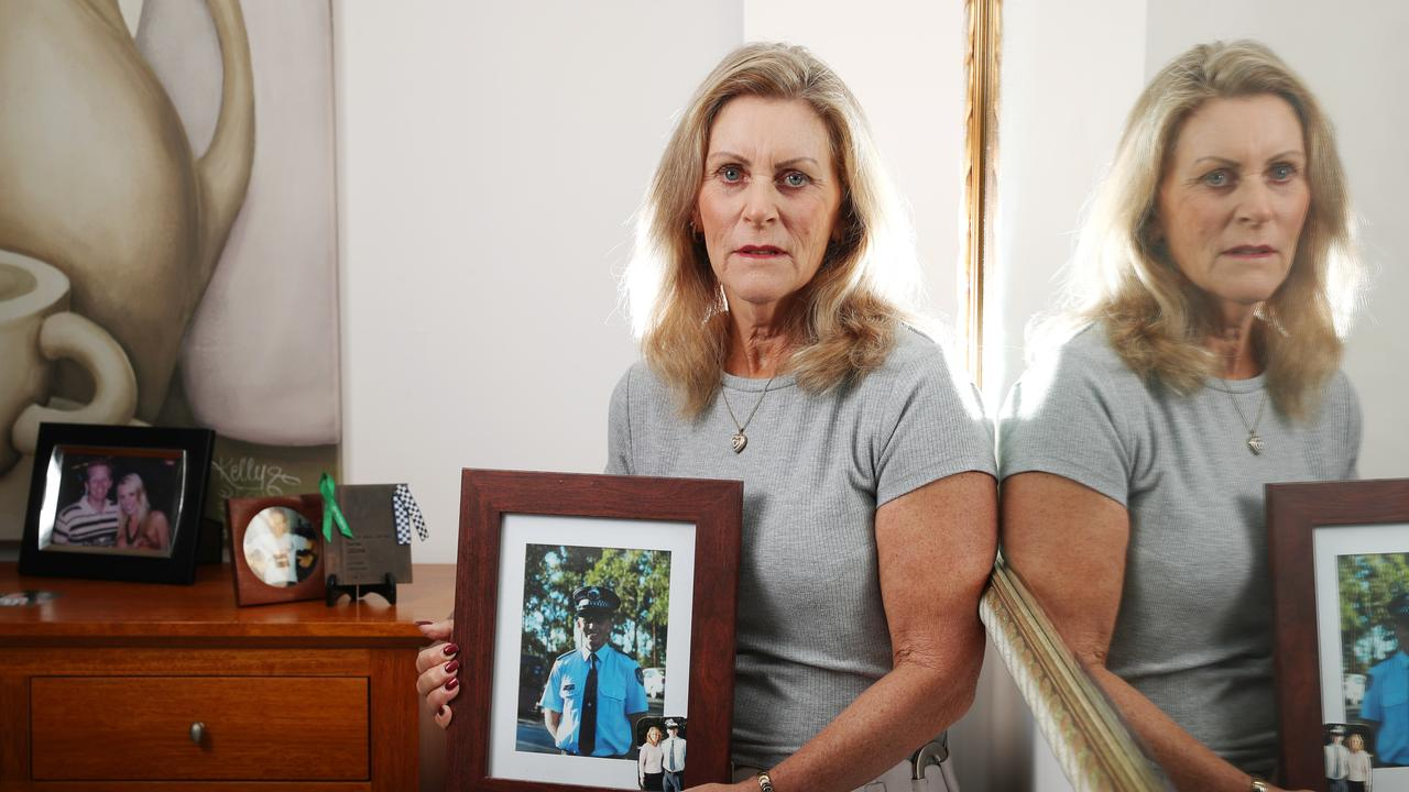 Julie Waters, mother of slain Gold Coast cop Damian Leeding, fought to stop one of her son's killers being freed from jail. Now he's back behind bars.