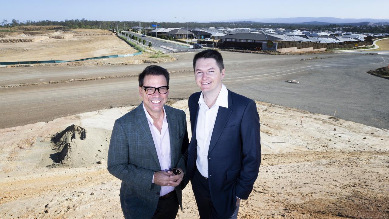 De Luca Corporation CEO Nic De Luca with Peet Limited's senior development manager Jonathon Lawson at the Eden's Crossing development, Redbank Plains.