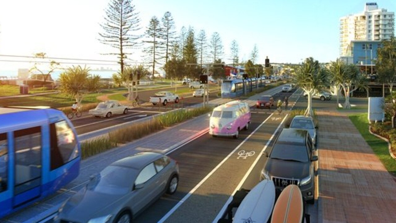 VISION: A render of a light rail system operating on Alexandra Pde, Alexandra Headland. Light rail could have a huge role to play in the region's future.