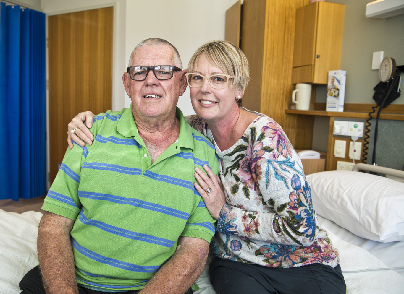 Donald Errington and his daughter Kelli Dwyer are thankful for the treatment offered by the new St Vincent's Private Hospital stroke unit.