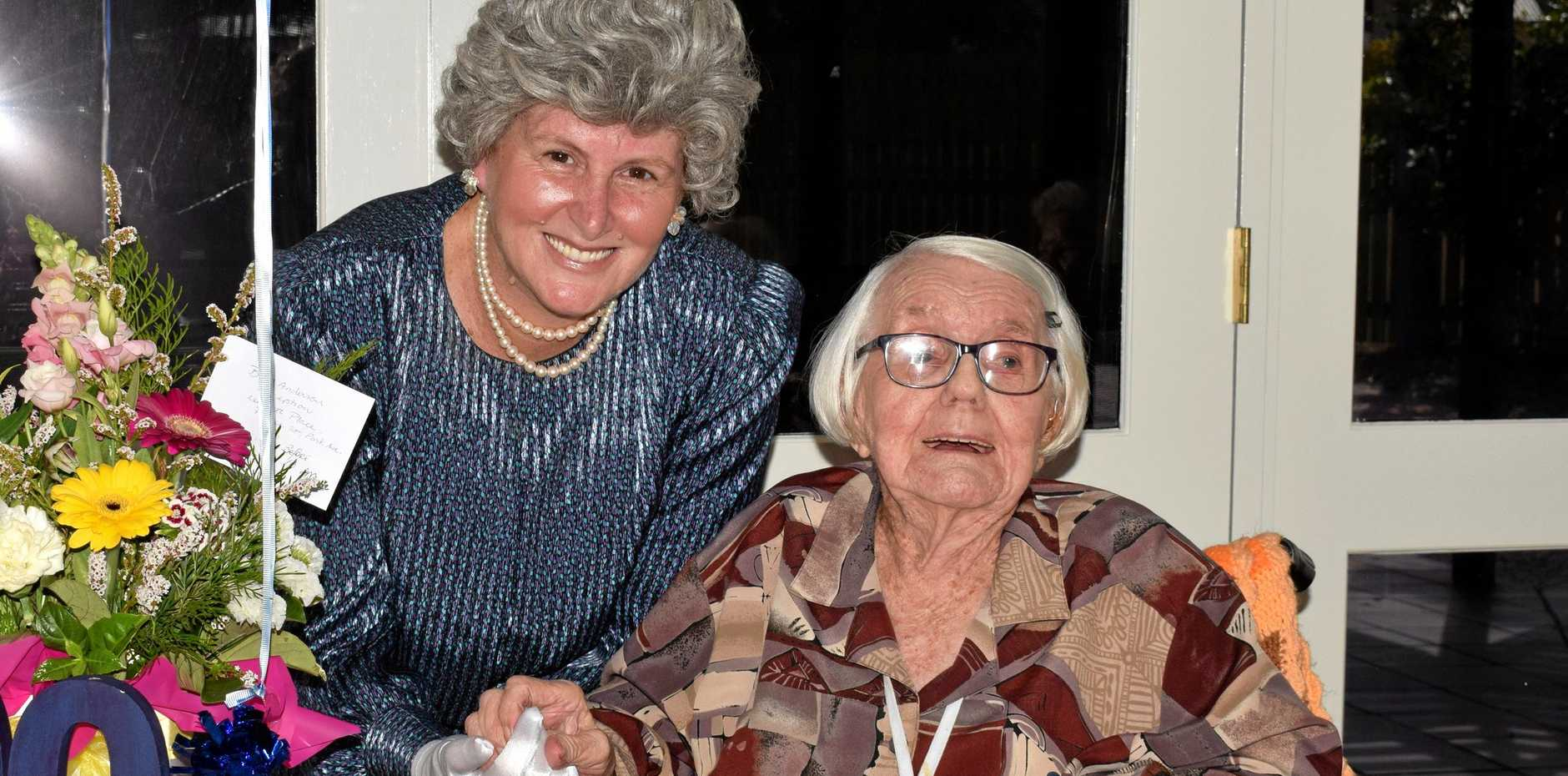 Betty Anderson received a visit from 'the Queen' (Leister Place's recreation officer Jeanette McMaster) during her 100th birthday celebrations Tuesday
