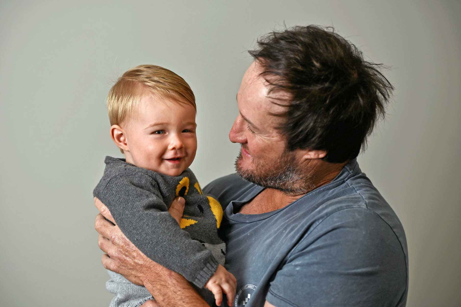 Clint Scott with son Leo, who turns 1 in September.