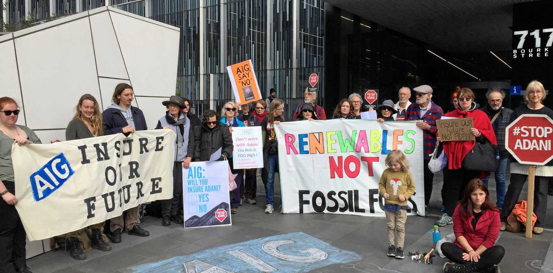 PROTEST: Green activists at AIG's offices