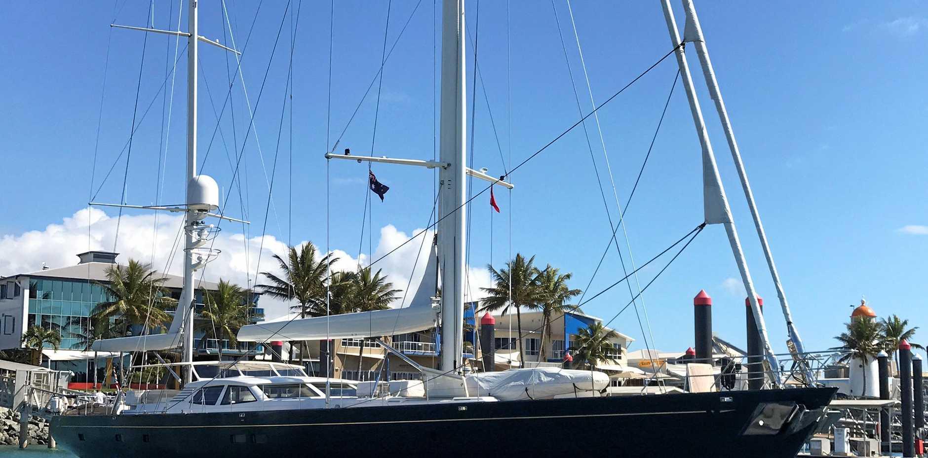 The Antares sailing yacht refueling in Mackay marina.
