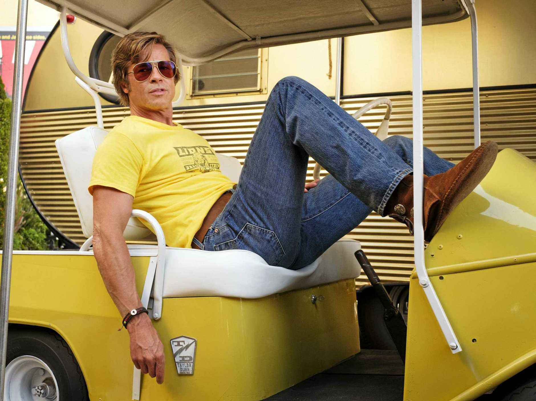 Brad Pitt stars in the movie Once Upon a Time in Hollywood. Supplied by Sony Pictures.