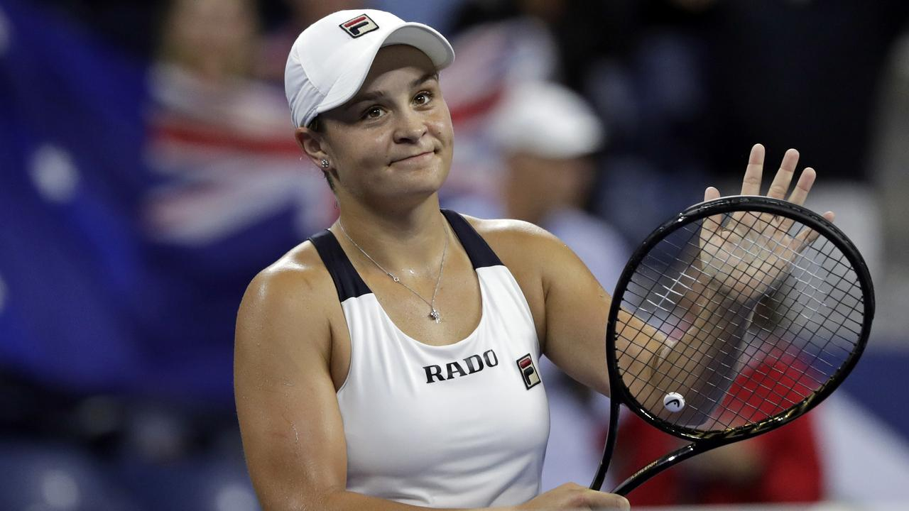 Ashleigh Barty, of Australia, celebrates after defeating Lauren Davis during the second round of the U.S. Open tennis tournament Wednesday, Aug. 28, 2019, in New York. (AP Photo/Adam Hunger)