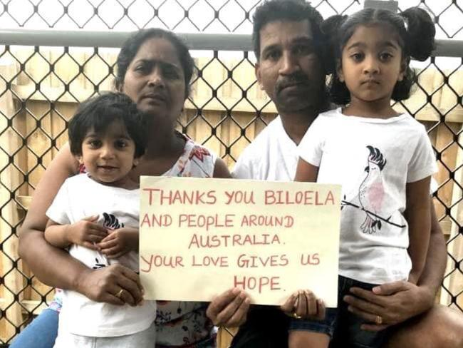 Tamil asylum seekers Nadesalingnam, wife Priya, and their Australian-born daughters Tharunicaa and Kopiga.