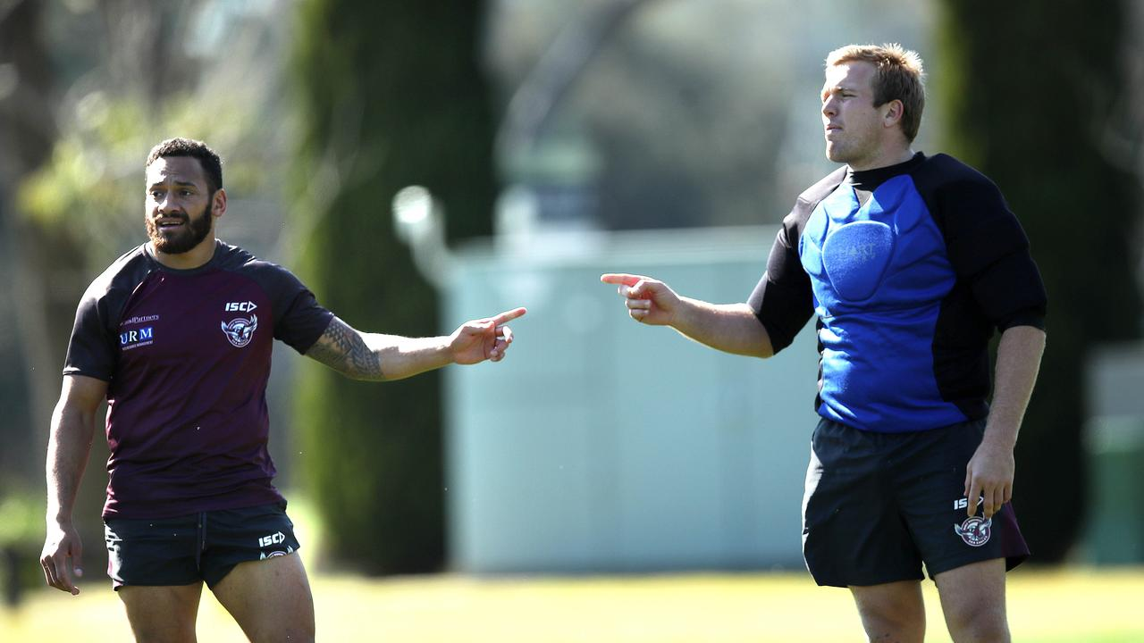 The Sea Eagles cut Apisai Koroisau (L) loose to free up cash for Jake Trbojevic. Picture. Phil Hillyard