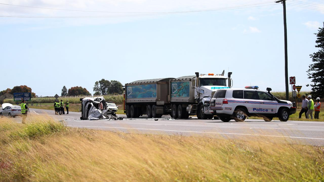 Gordonvale man Ian McGuigan died after his car collided with a truck on the Bruce Highway near the intersection with Maitland Rd near Gordonvale. PICTURE: STEWART MCLEAN
