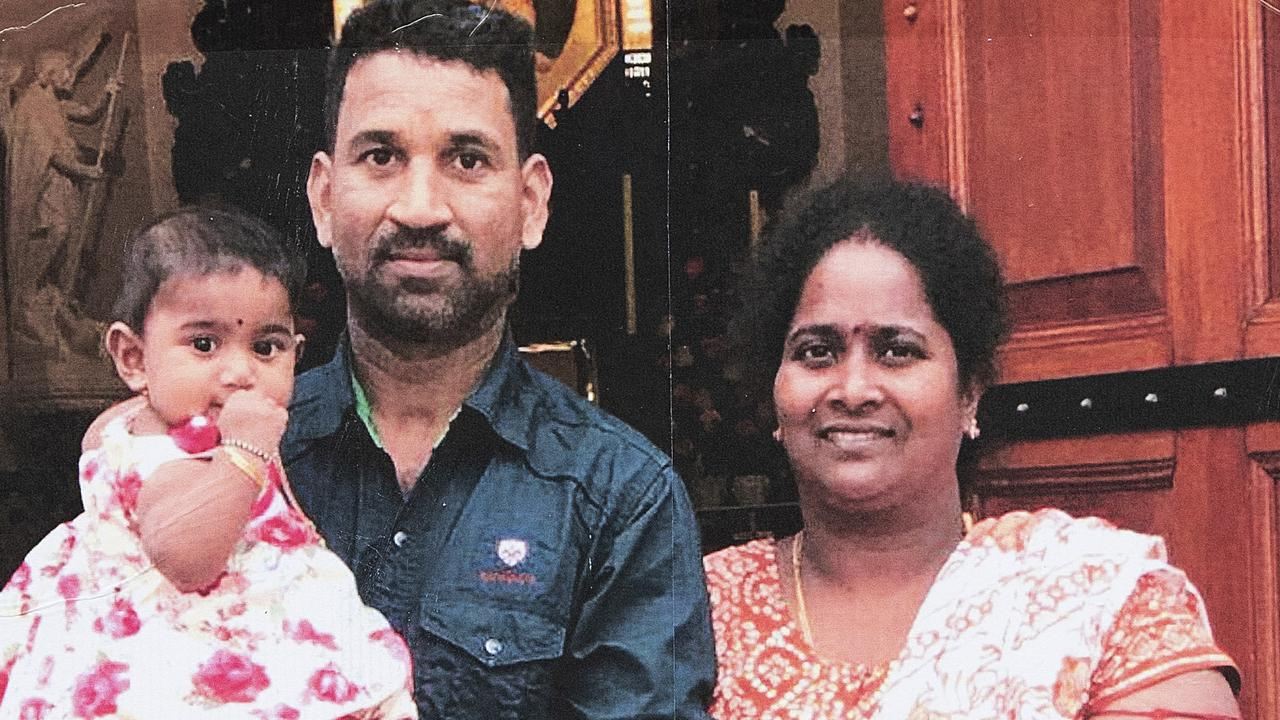 Sri Lankan Tamils Priya and Nadesalingam and their two Australian-born children, from Biloela in Queensland. Picture: AAP/Ellen Smith
