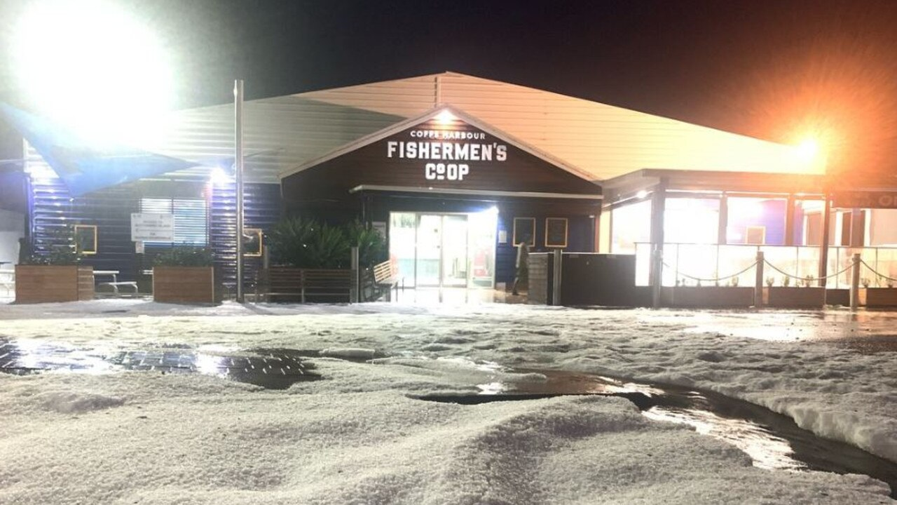 The fishermen's co-op at the Coffs Harbour jetty was covered in hail.