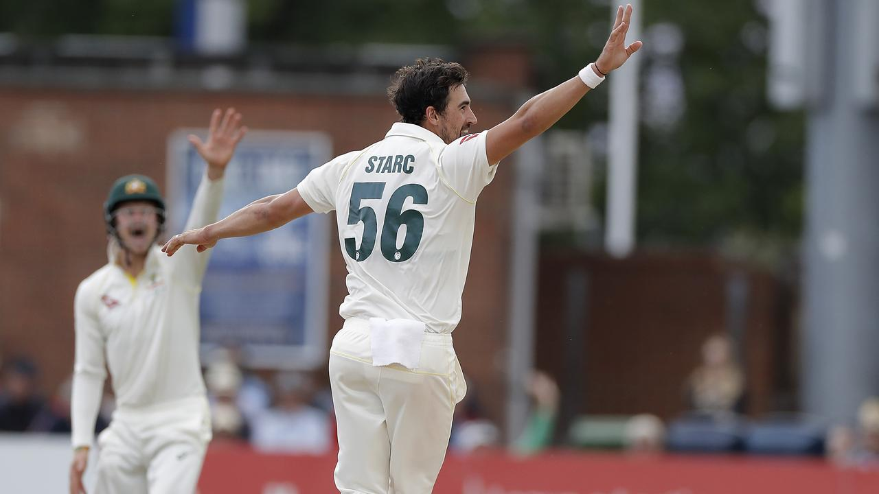 DERBY, ENGLAND — AUGUST 29: Mitchell Starc of Australia celebrates a wicket of during day one of the Tour Match between Derbyshire CCC and Australia at The County Ground on August 29, 2019 in Derby, England. (Photo by Ryan Pierse/Getty Images)