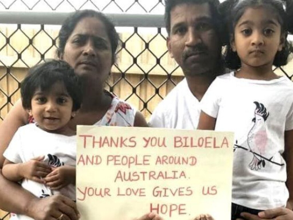 Tamil asylum seekers Nadesalingnam, wife Priya, and their Australian-born daughters Dharuniga and Kopiga. Picture: Twitter