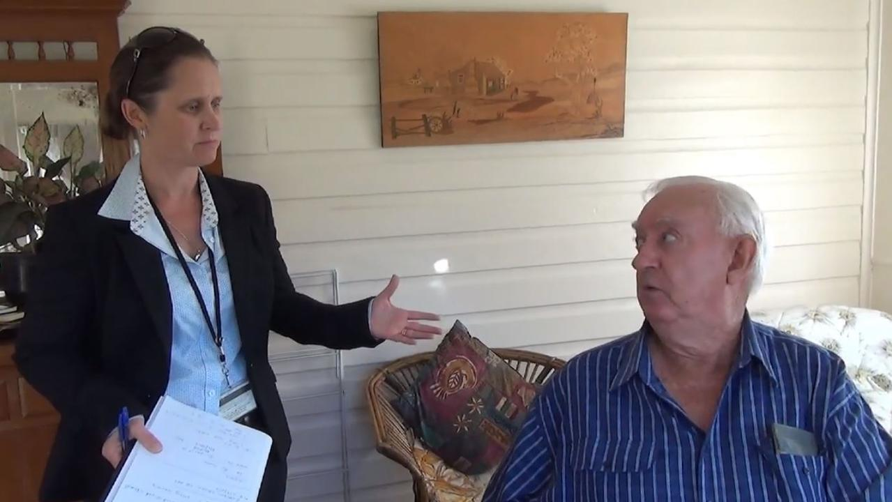 Detective Sergeant Laura Beacroft (left) with Ronald Chapman at his house in April 2017.