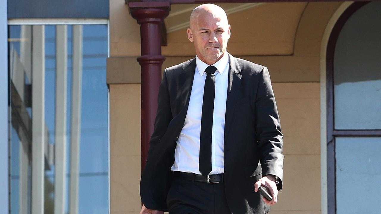Former NSW Detective Gary Jubelin spoke briefly to reporters outside Taree courthouse. Picture: Peter Lorimer/AAP
