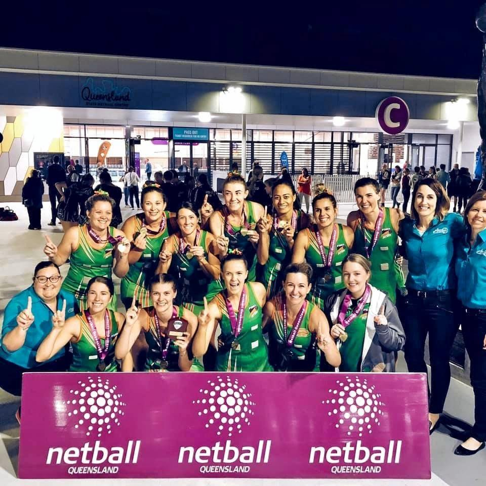 The Ipswich Flyers netball team that won the 2019 SEQ Cup grand final against the Goodna Sapphires.