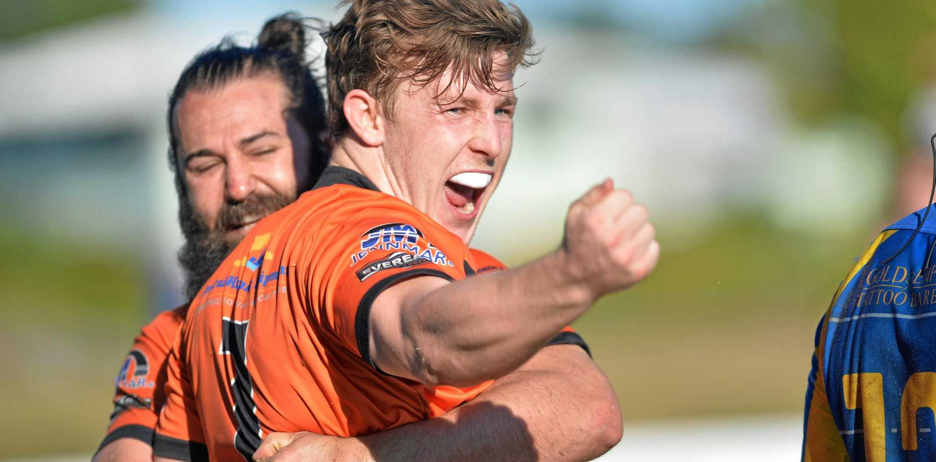 ROARING: Wests Tigers' Jack Hickson celebrates a try against Souths Sharks in the RLM A-Grade semifinal.