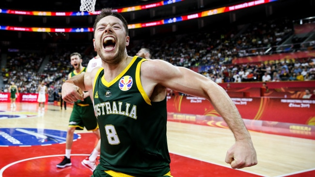 Delly celebrates one of his big buckets against Canada.