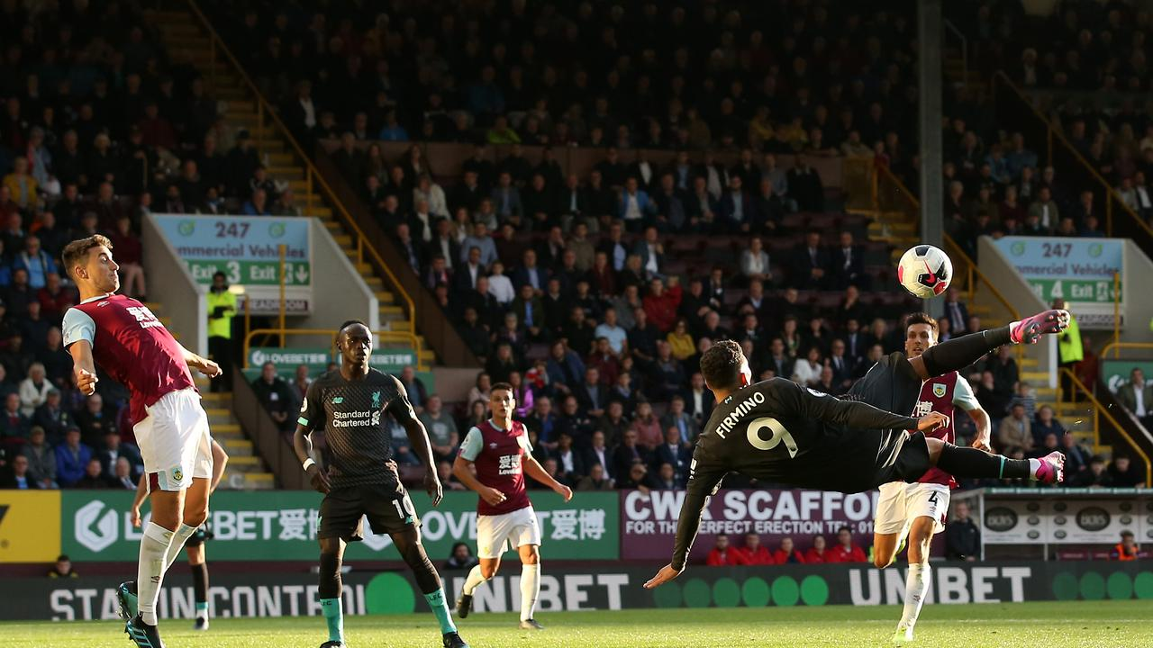 Roberto Firmino of Liverpool attempts an overhead kick during the Premier League match between Burnley FC and Liverpool FC at Turf Moor. Picture: Jan Kruger/Getty Images