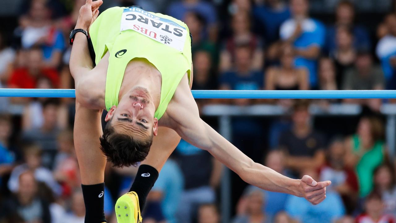 Australia's Brandon Starc competing in the high jump during the IAAF Diamond League in Zurich.
