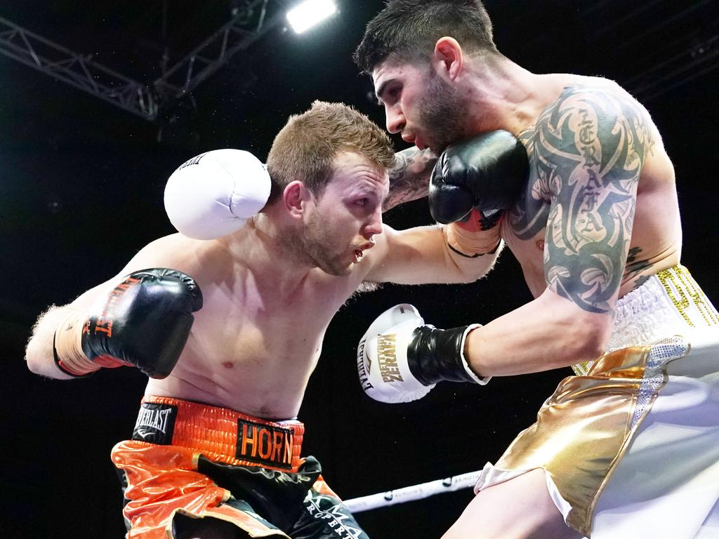 Jeff Horn and Michael Zerafa compete during the 'Battle of Bendigo' bout.