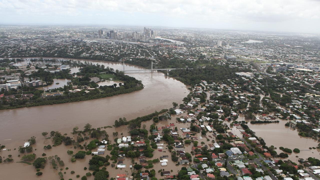 The Brisbane City skyline during the 2011 floods. Picture: Russell Shakespeare