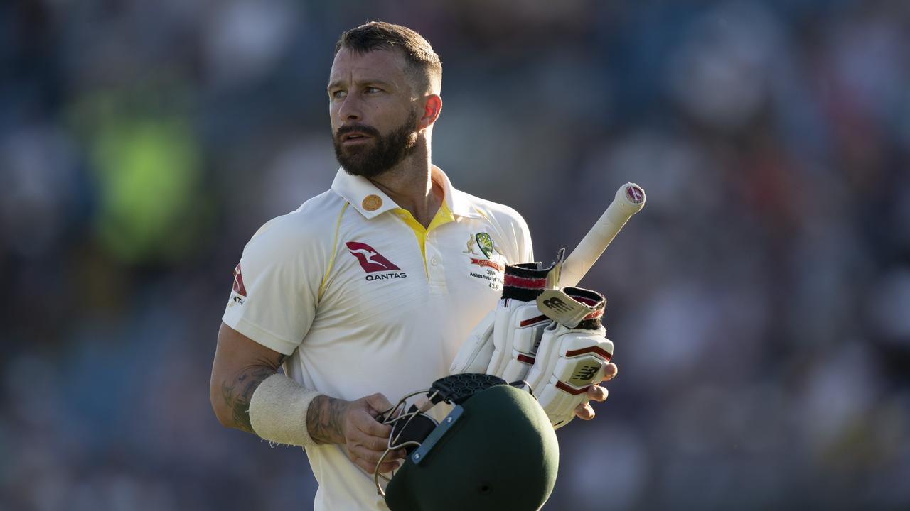 Australia's Matthew Wade walks from the pitch after being caught by Jonny Bairstow for 33 off the bowling of England's Ben Stokes the second day of the 3rd Ashes Test cricket match between England and Australia at Headingcaught by ley cricket ground in Leeds, England, Friday, Aug. 23, 2019. (AP Photo/Jon Super)