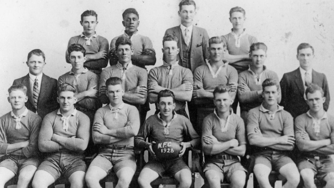 Nambour Rugby League Football Club, A Grade team, 1928.Seated, L to R: V. Swenson, A. Perren, J. Kenny, R. Flick (Captain), W. Perren (Secretary), R. McLennan, E. Lowe. Second row: F. Poore, R. Tucker, S. Barlow, J. Maleney, R. Pringle, A. Swenson, W. Clowes. Back row: R. Gaylard, T. Rope, P. Collins, R. Gibson.