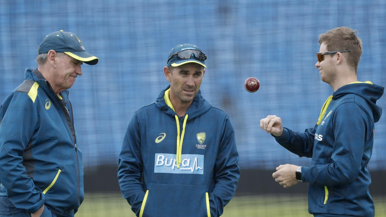 Australian Chairman of Selectors Trevor Hohns (L) and coach Justin Langer (C) must decide who makes way for the return of Steve Smith (R). Picture: Ryan Pierse/Getty Images