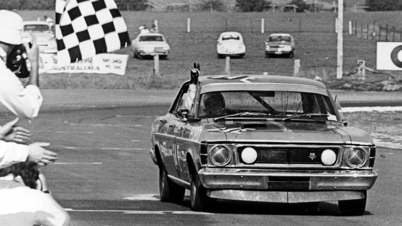 Alan Moffat wins the Bathurst 1000 race in a Ford Falcon XW GTHO in 1971.