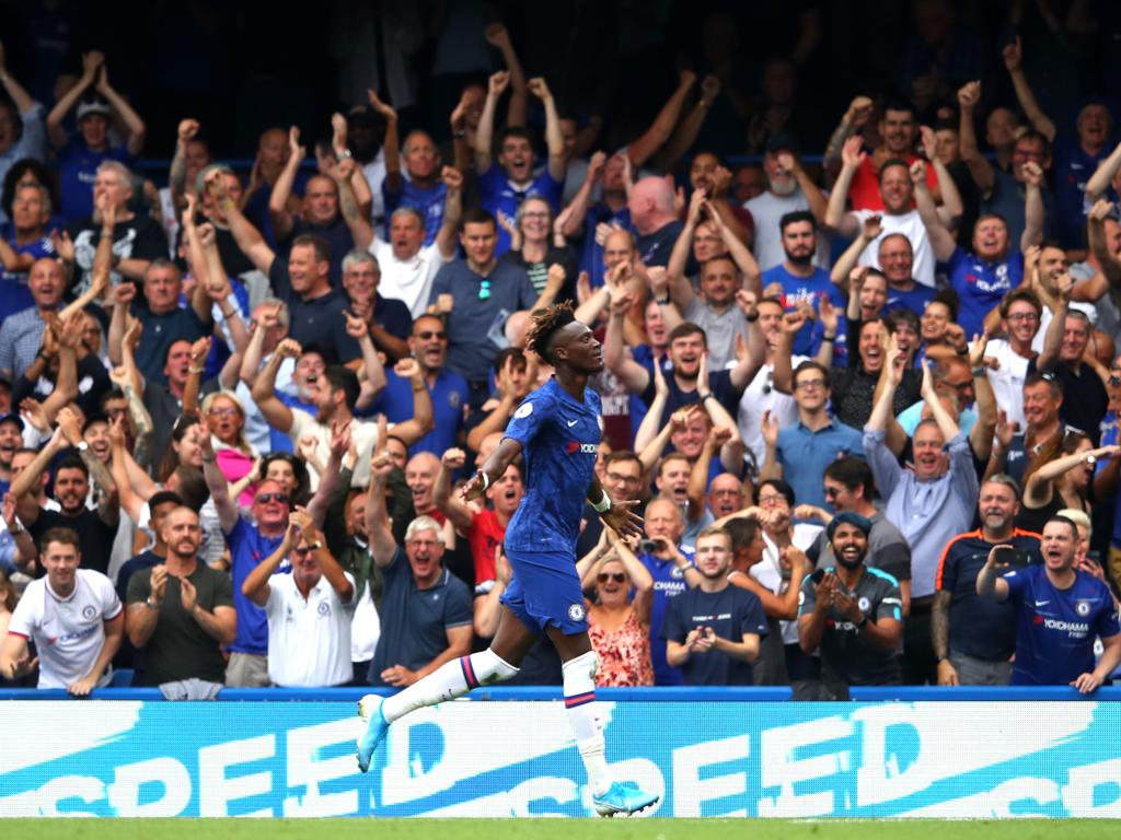 Tammy Abraham of Chelsa celebrates after scoring his team's second goal during the Premier League match between Chelsea FC and Sheffield United. Picture: Warren Little/Getty Images