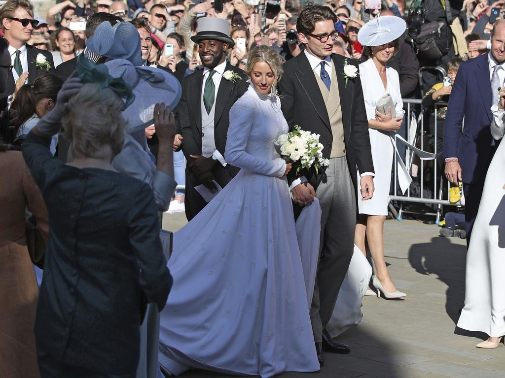 Newly married Ellie Goulding and Caspar Jopling leave York Minster after their wedding. Picture: AP