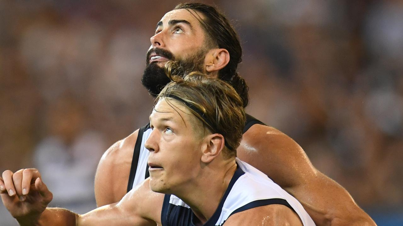 Can Brodie Grundy manhandle Rhys Stanley? Pic: AAP