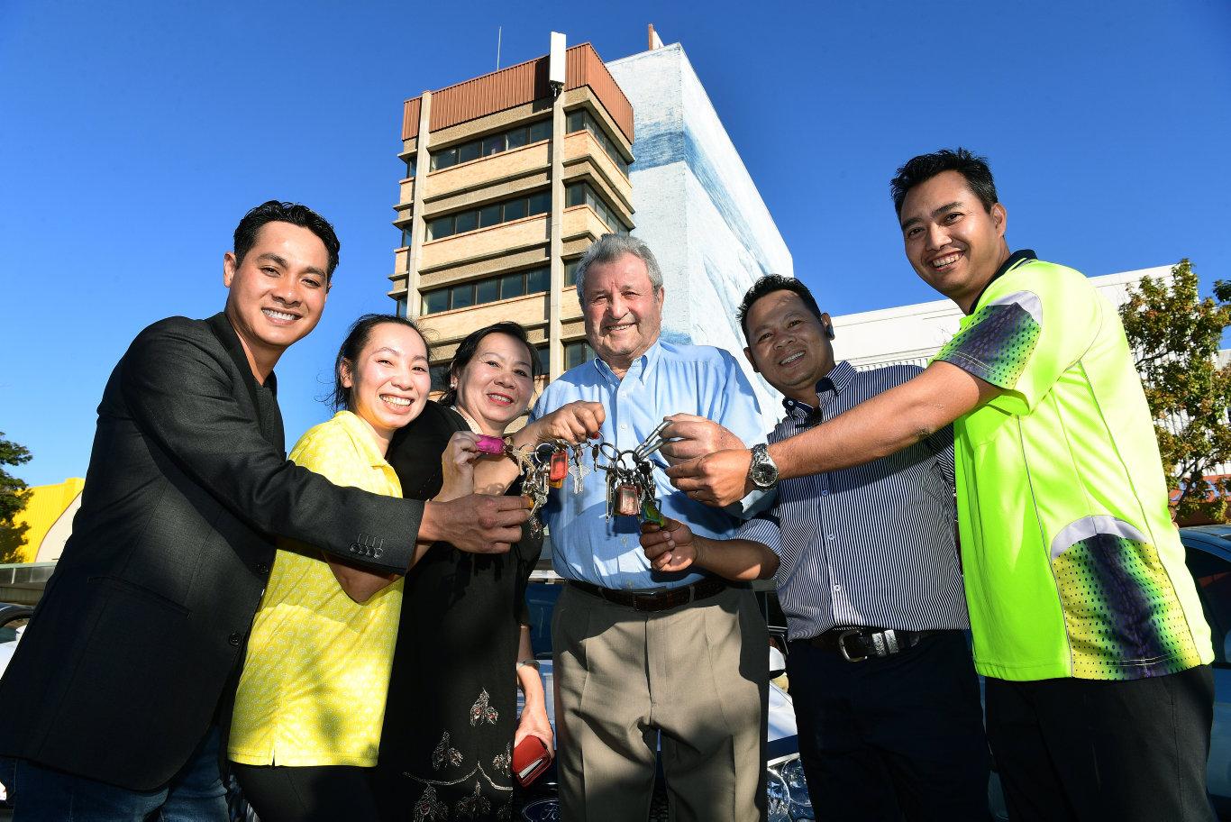 NEW OWNERS: Tam Dang, Gina Dang, Gem Nguyen, John Santalucia, Victor Dang and Toan Nguyen.