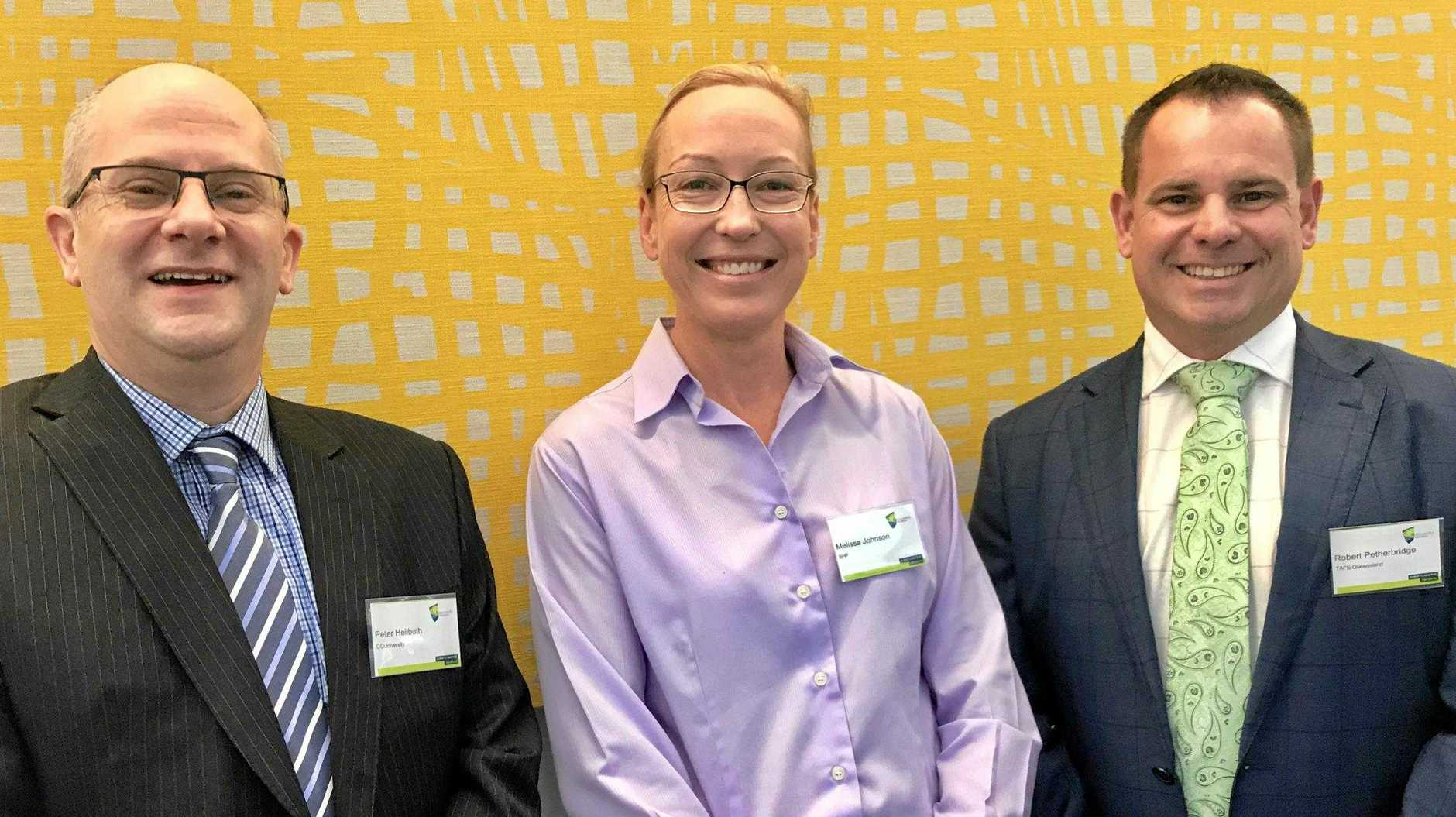 CQ University pro vice chancellor for VET Peter Heilbuth, Melissa Johnson from BHP and Robert Petherbridge from TAFE Queensland.