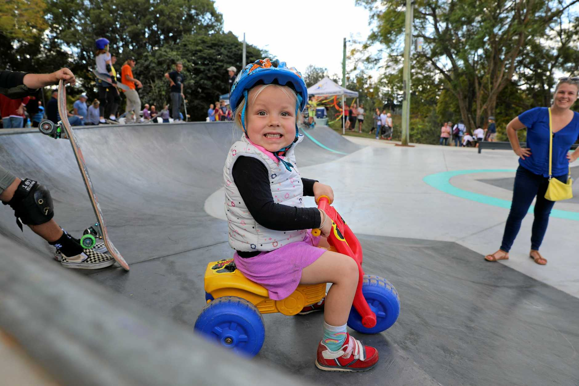 Florence Winter christening the Gympie region's newest skate park on Saturday.