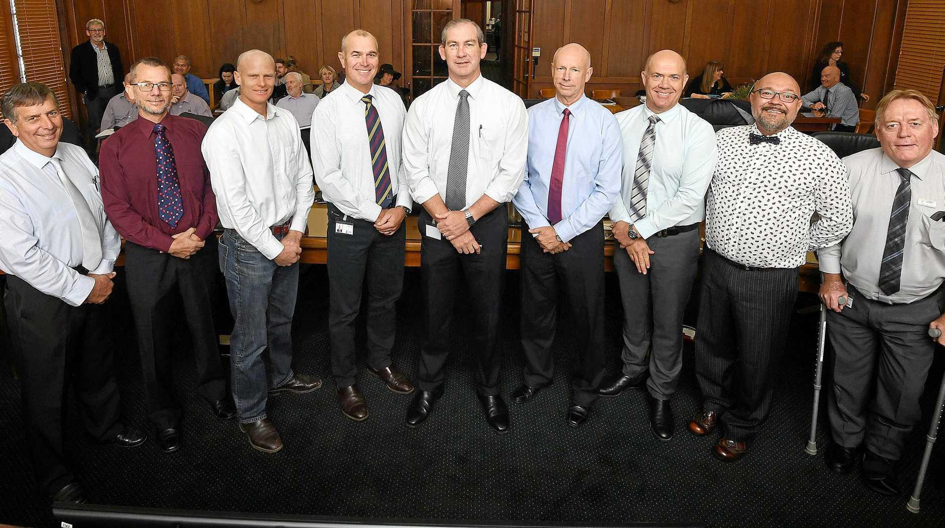 Gympie Council Hilary Smerdon, Dan Stewart, Glen Hartwig, Bob Leitch, Mick Curran, Bob Fredman, Mal Gear, Daryl Dodt and Mark McDonald.