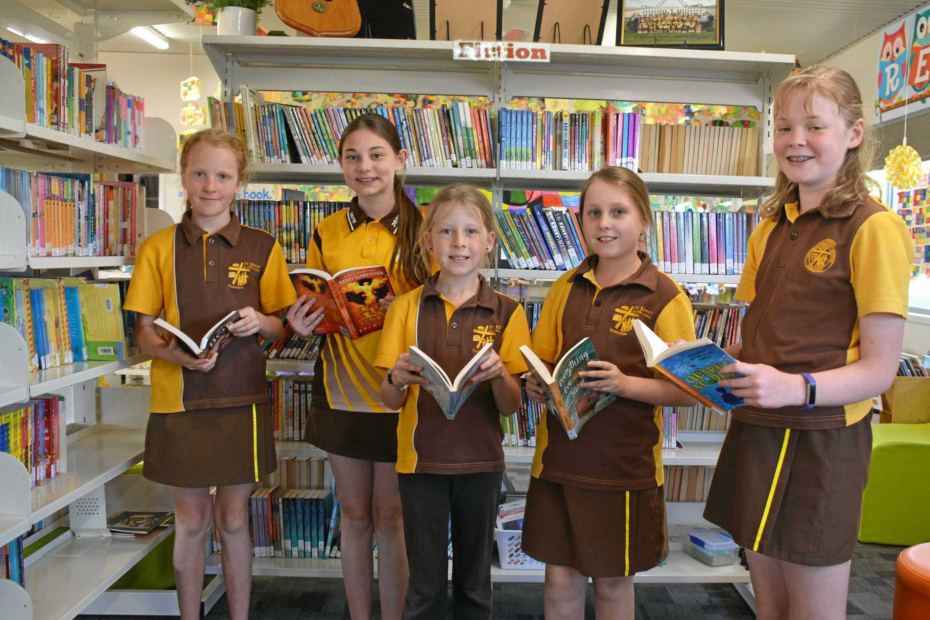 READERS: St John's Lutheran School students Miller Brown, Aliyah Brown, Kayleigh Johannesen, Beccy Sharp and Amelia Lonsdale will be competing in the state Reader's Cup finals.