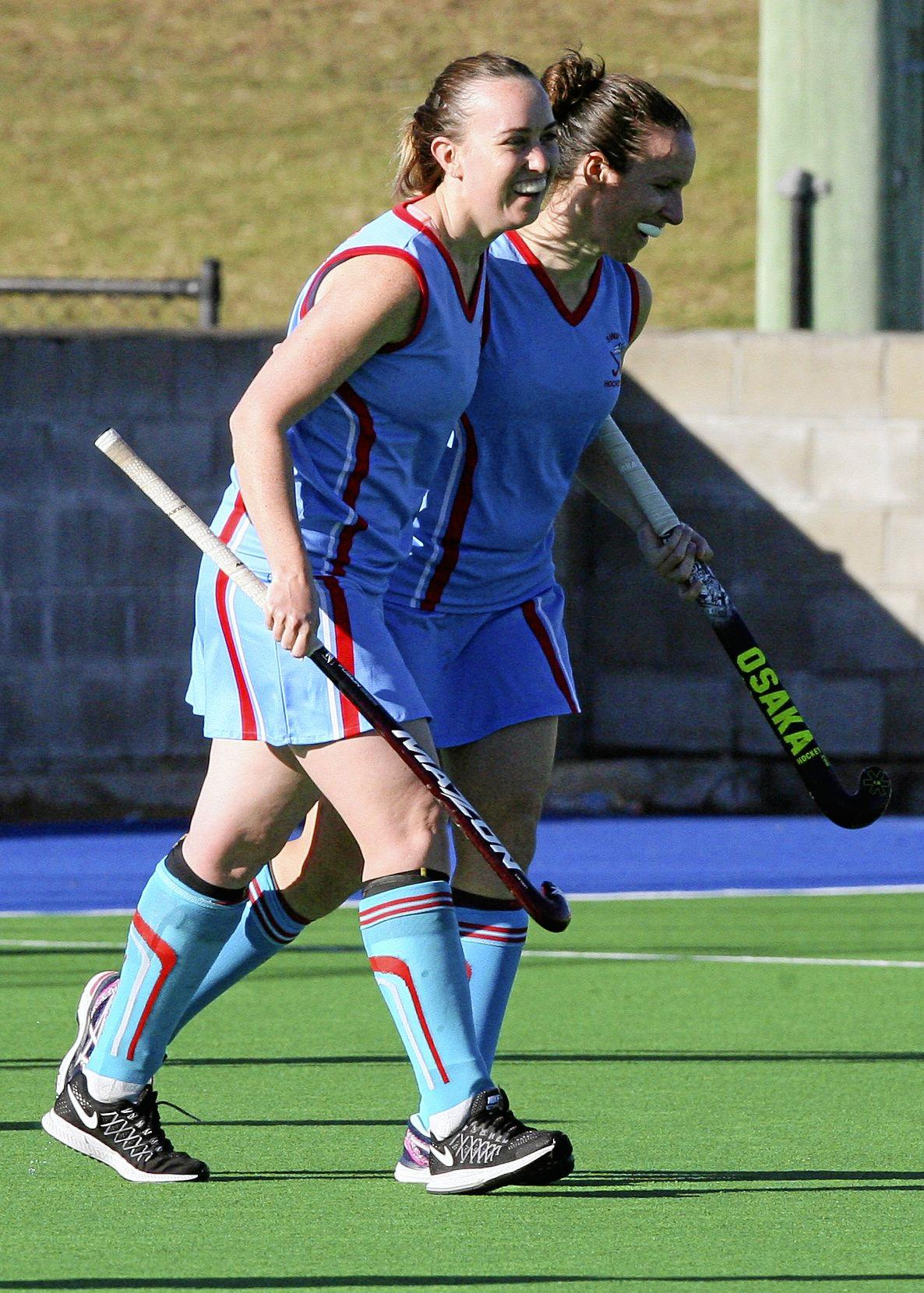 Women's A Grade Hockey: Wests vs Swifts. Swifts players Hannah Sanderson and Amanda Stacey celebrating a goal.