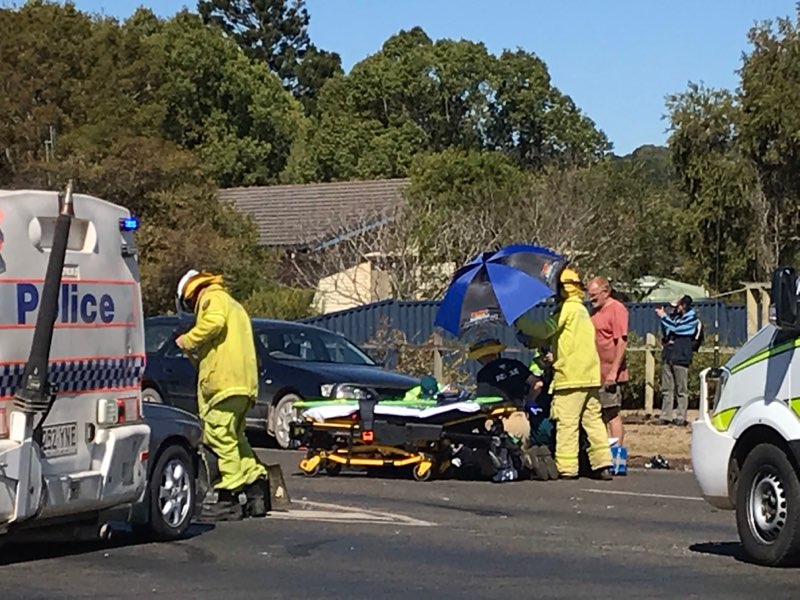 Emergency services attend to a vehicle and motorbike crash in Kingaroy at the Arthur St and Haly St intersection at 1.29pm.