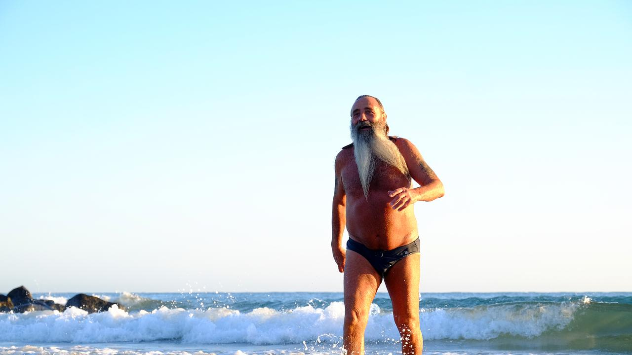 Miguel Vitale D'Amico finishes with a swim after his morning warm-up routine on Bargara Beach.