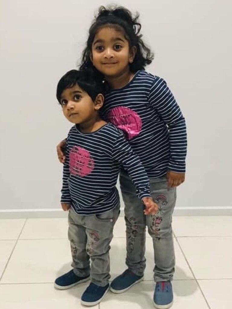 Kopika, 4, and Tharunicaa, 2. Picture: AAP Image/hometobilo.com