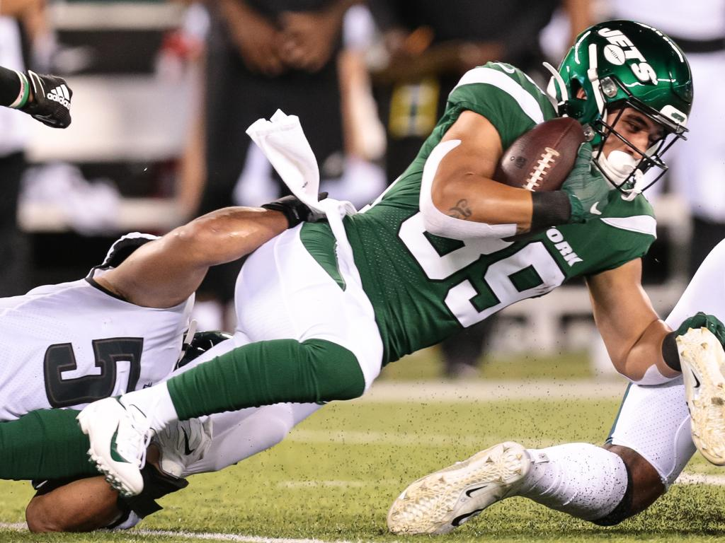Valentine Holmes (39) will have plenty to learn in his role on the New York Jets practice squad. Picture: Joshua Sarner/Icon Sportswire via Getty Images