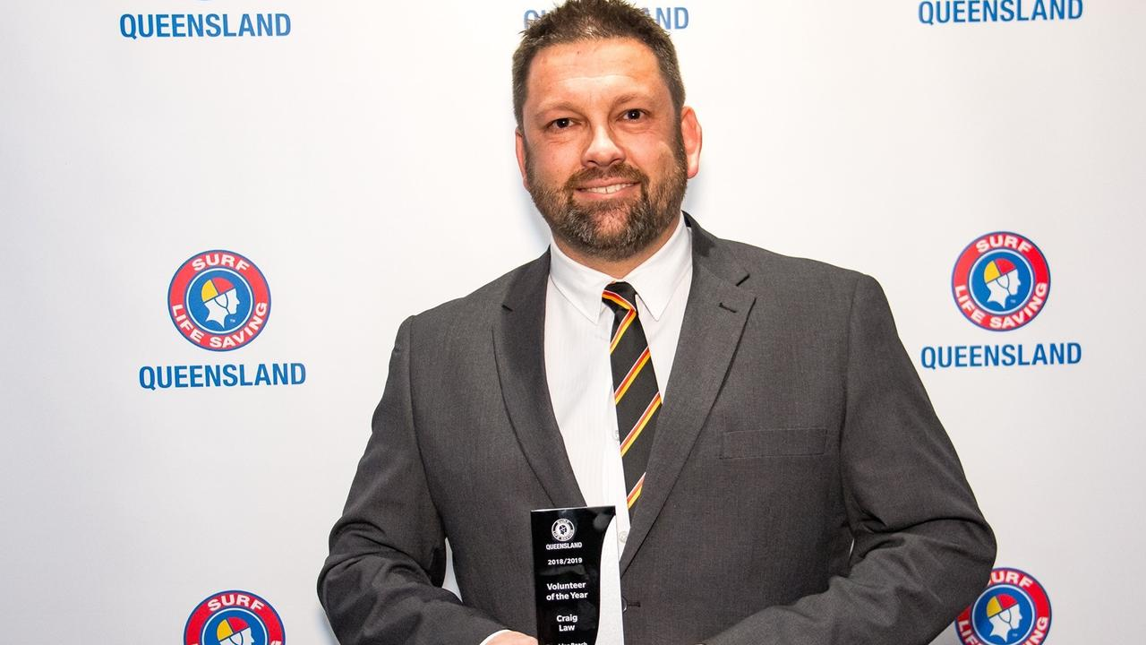 Sunshine Beach surf lifesaver Craig Law won SLSQ 2019 Volunteer of the Year.