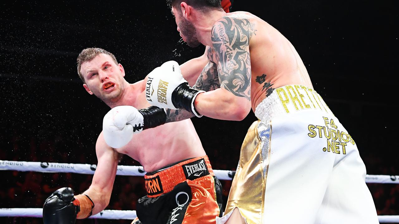 Michael Zerafa lands a one of 14 consecutive punches to Jeff Horn's head in the ninth and final round of their fight in Bendogo on Saturday. Picture: Quinn Rooney/Getty Images
