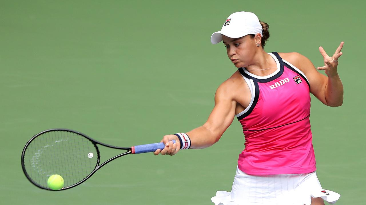 Ashleigh Barty returns a shot against Qiang Wang. Picture: Elsa/Getty Images/AFP