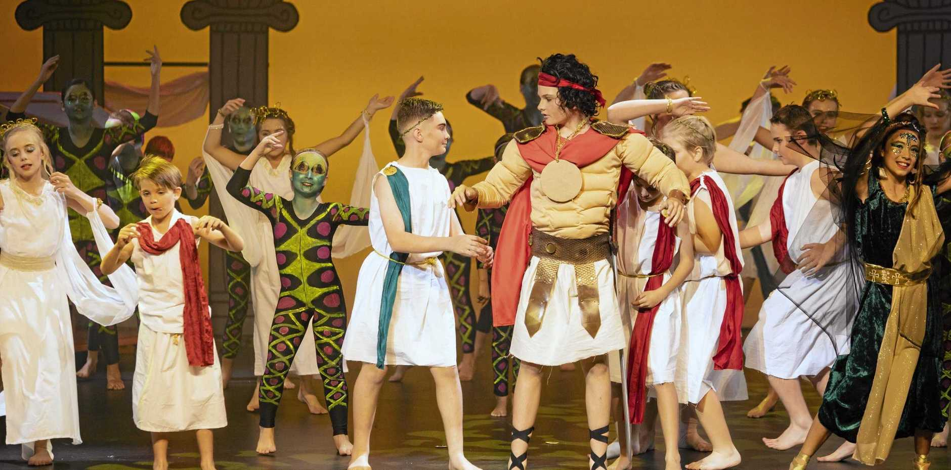 Dancers (from left) Jemma Lawn, Whyatt Doumergue, Amelie LeCoz, Luca Borg, Nicholas Hetherington, Lucas Temple and Kaitlin Naylor helped Glenella State School take out first place with their story dance about the Twelves Labours of Hercules.