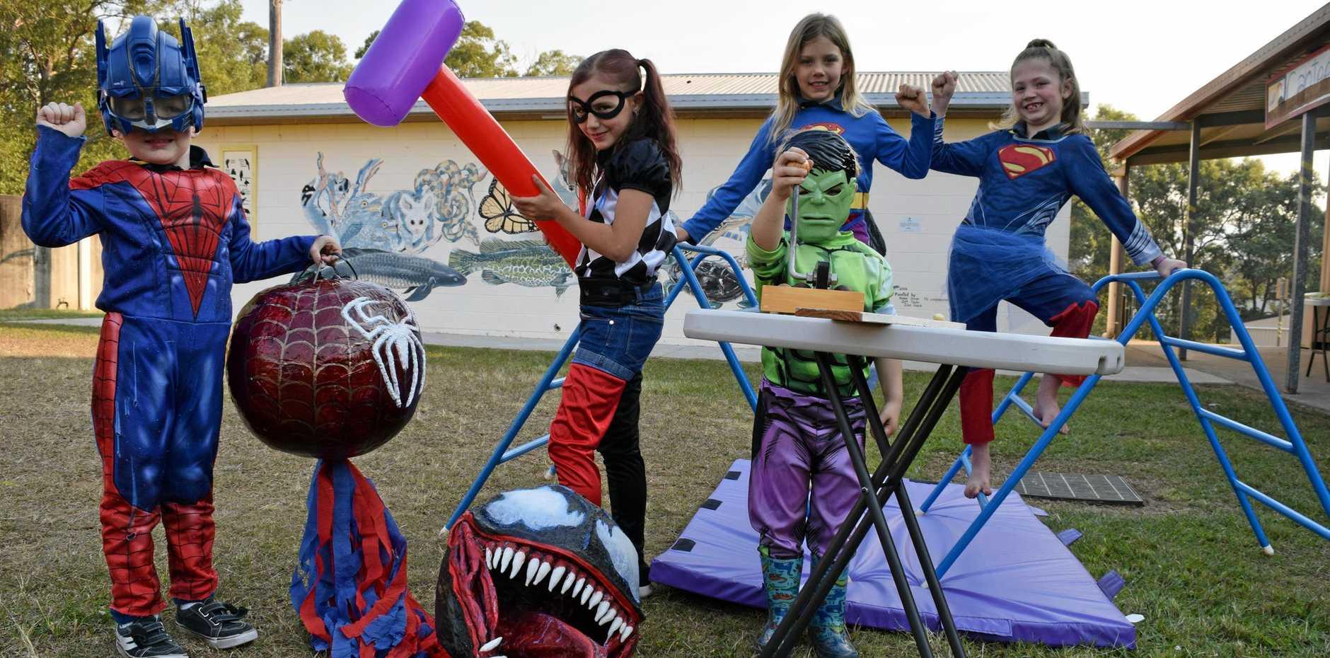 Dress up for the Bauple Nut Bash like last year's super hero theme (from left) Spiderman aka William Aldridge, Harley Quinn aka Abby Mooney, Hulk aka Ethan Mooney, and Supergirls Eva Whyte (left) and Lilly Scott.